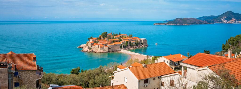 Historical Sveti Stefan old town, landmark on the coast of Montenegro