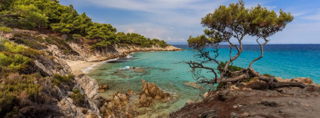 Orange Beach. The east coast of Sithonia peninsula, Halkidiki, Greece.